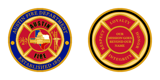 Austin Fire Department Custom Challenge Coins