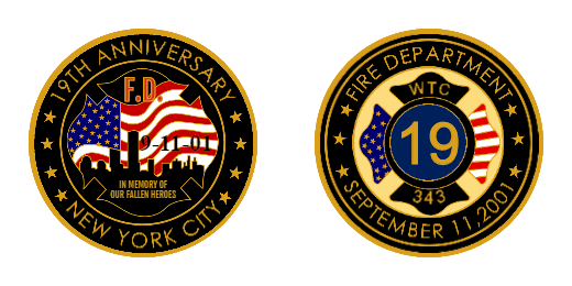 Fire Department 19th Anniversary Custom Challenge Coins